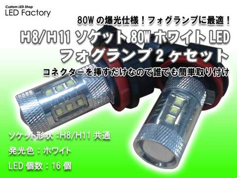 H8/H11ソケット80WホワイトLEDフォグランプ2ヶセット
