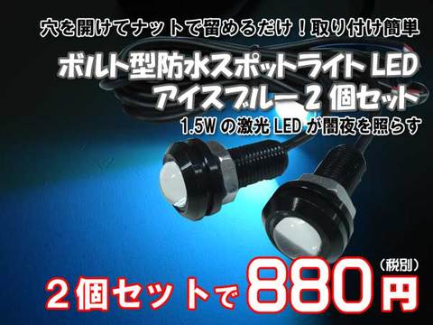 ボルト型防水スポットライトLEDアイスブルー2個セット