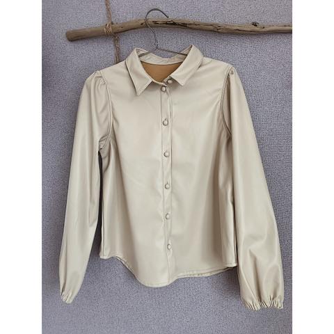 合皮パフスリーブシャツ