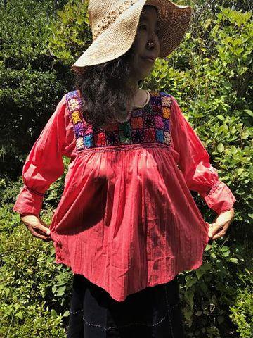 マヤンブラス アグアカテナンゴ村花刺繍 サーモンピンク