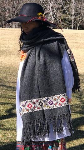 マヤ織りショール ダークグレー