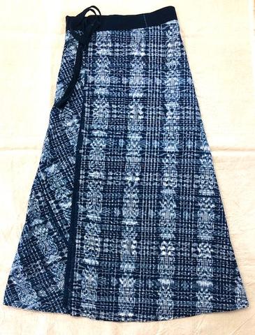 マヤン巻スカート 藍 絣模様 トトニカパン
