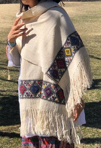 マヤ織りショール 生成り