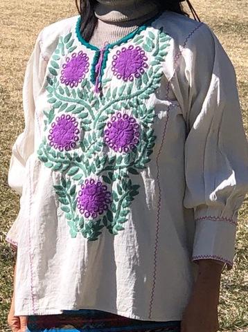 マヤンブラス アマテナンゴ村花刺繍 生成り