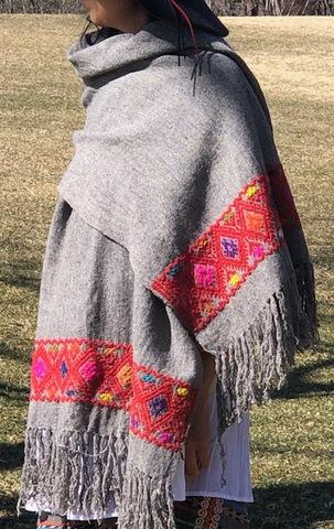 マヤ織りショール ライトグレー