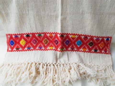 マヤ織りショール 生成り×赤