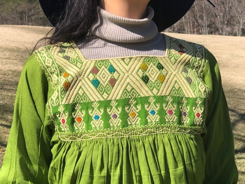 マヤンブラス サンアンドレスララインサール村 手織り モスグリーン