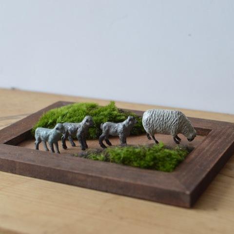 鉛のミニチュア 羊の家族セット