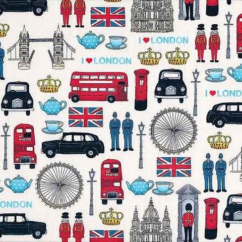 【Makower UK/英国直輸入生地】ロンドン ファブリック「London Icons」縦100cm × 横114cm