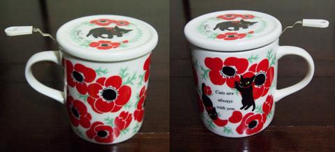 【Manami Nakada Ribon Cat】アネモネ・リボンキャット ハーブマグカップ&小皿セット