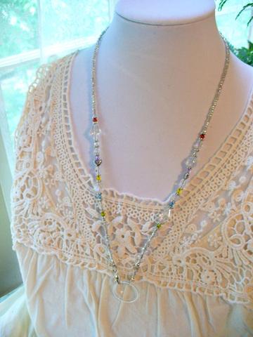 【Swarvoski Beads Necklace】スワロフスキー ビーズネックレス ホルダーリング付