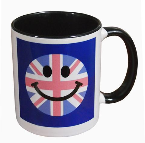 【3dRose Union Jack Mug】3dRose ユニオンジャック スマイリーフェイス ツートーンブラック マグカップ