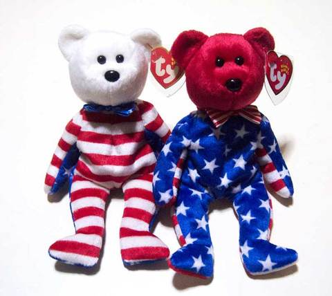 "【Ty Beanie Babies】Ty ビーニーベイビーズ ""リバティー"" レット&ホワイト フェイスベアセット"