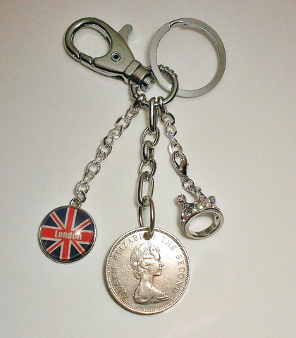 【 Baliwick of Jersey Vintage Coin Keychain 1980】英国ジャージ島ヴィンテージコイン キーチェーン 1980