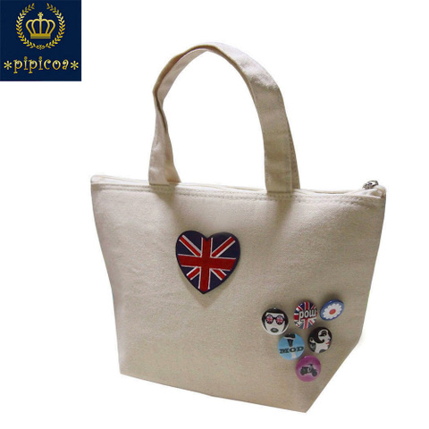 【*pipicoa*Union Jack mania】ユニオンジャックワッペン&UKバッジ 保冷保温ランチ ミニトートバッグ S