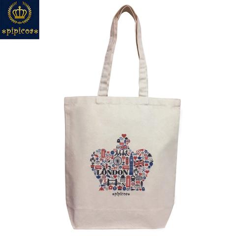 【*pipicoa*Union Jack mania*】「LONDON」キャンバス(帆布)ショッピングトートバッグ  M