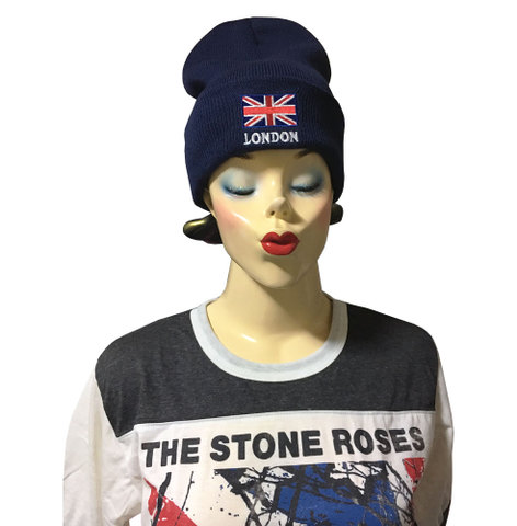 【London/England】ロンドン ユニオンジャック ニット帽 ネイビー
