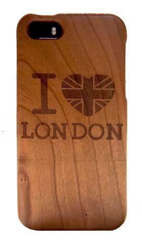 【I Love London】ユニオンジャック アイ・ラブ・ロンドン 木製 iPhone5/5s/SE ハードケース