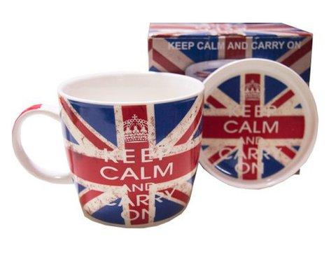【Keep Calm and Carry On】キープ・カーム・アンド・キャリー・オン ユニオンジャックマグカップ&コースターセット