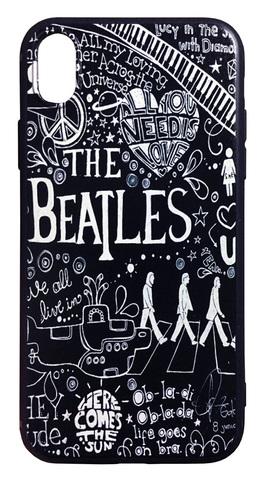 【The Beatles】ザ・ビートルズ「タイトルイラスト ブラック」iPhoneXR シリコン TPUケース