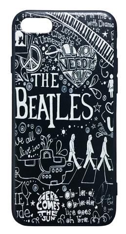 The Beatles】ザ・ビートルズ「タイトルイラスト ブラック」iPhone7/iPhone8/ iPhoneSE(第2世代)シリコンカバー TPUケース(ストラップ付)