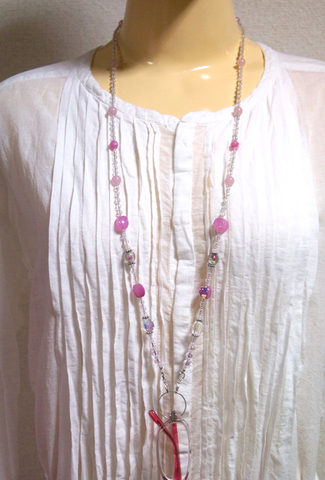 【Pink and Clear Glass Beads Necklace】ピンク&透明グラスビーズネックレス ホルダーリング付