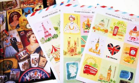 【Letro Stamp sticker】レトロ スタンプ ステッカー(シール)London・Royal・Paris