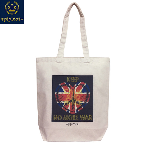 【*Union Jack mania*pipicoa*】「KEEP CALM AND PEACE NO MORE WAR」ユニオンジャック トートバッグ M