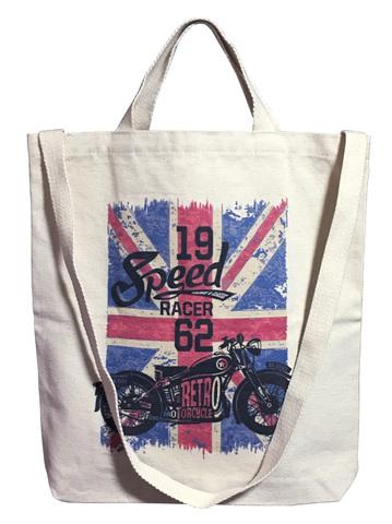 【*pipicoa*/Tote Bag】*ピピコア*「Speed Race Retro Motorcycle」ユニオンジャック キャンバス(帆布)レコード トートバッグ 肩掛けタイプ