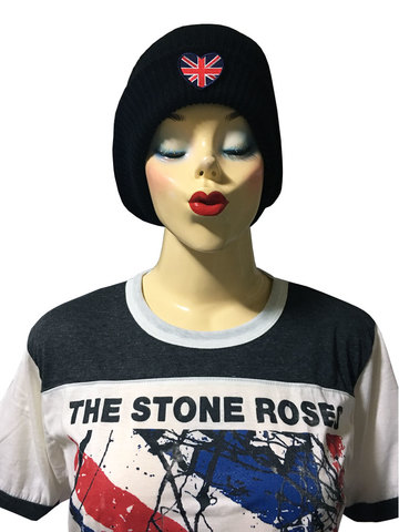 【*pipicoa*Union Jack mania】ユニオンジャック ハートワッペン付き ニット帽 ブラック