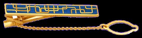 ネクタイピン(角形幾何学・青漆)