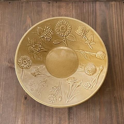 キャメル 花図鑑の深皿 /よしざわ窯