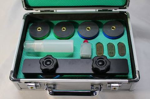 NSK工業スピードスケートブレード研磨用 焼結CBN砥石アルミケースセット NO. 0.2,5 ブラックアルミハンドル  (税抜き77000円 税7700円)