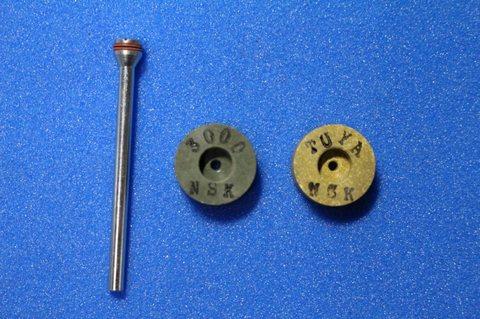 15φ  6mm幅 #3000 艶白  リューター、ルーター、研磨用レジン焼結ダイヤモンド砥石(湿式用) 2個セット 穴径1.8ミリ  マンドレル1本付き(3mm軸)