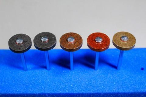 18φ  #60--$1000  リューター、ルーター、研磨用レジン焼結ダイヤモンド砥石(湿式用) 外形18mmタイプ #60.#150.#300.#500.#1000 外形18mm 厚み3mm 穴経1.7mm マンドリル4本付 軸径2.35mm , ネジ径1.7