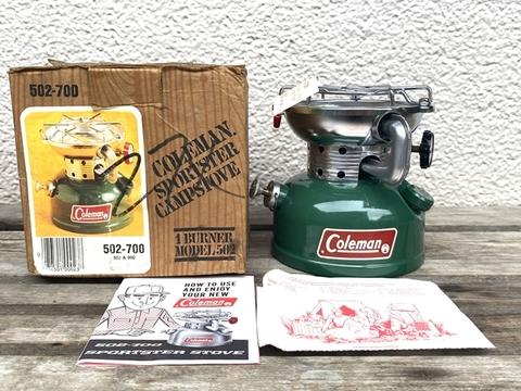 【未点火元箱入り】コールマン 502 スポーツスター 1984年9月製造 ペーパー類付き Coleman シングルバーナー