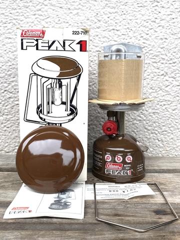【未点火元箱入り】コールマン 222 茶 1/82製 NOS ピークワンランタン G2ジェネレーター装着品 Coleman PEAK1 廃盤品