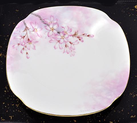 垂れ桜の角皿(No.4左しだれ)