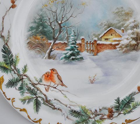 絵付テキストNo.62【冬景色と小鳥たち】