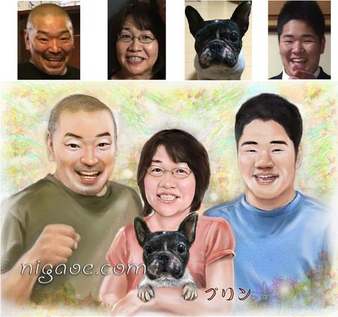 ペットちゃんと飼い主様の似顔絵/ナチュラルフレーム