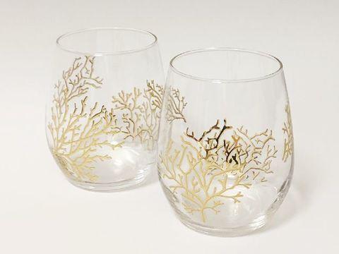 【父の日ギフト】ゴールドサンゴのグラス(ペア)