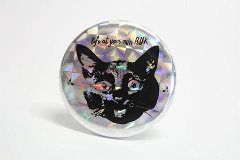 CAN-BADGE[黒猫 ホログラム](38mm)