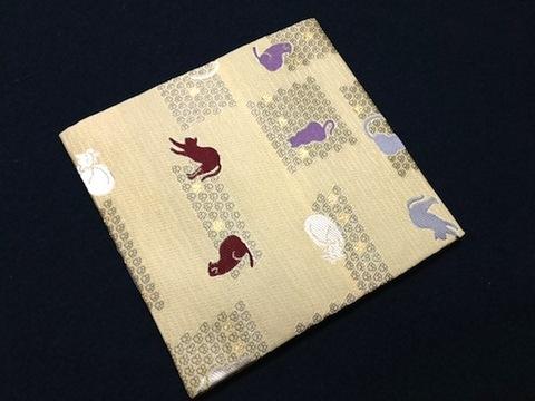 【猫と肉球&猫と雪輪】青峰堂オリジナル「猫の古帛紗(古袱紗)」【猫柄織物シリーズ】