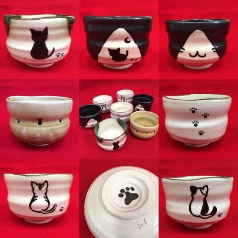 青峰堂オリジナル「猫の抹茶碗」【国産・愛知県瀬戸市赤津焼】【ネコ・ねこ】