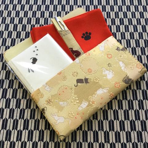 「猫のお稽古スタートセット」【茶道・三ツ折・帛紗・懐紙・菓子切】