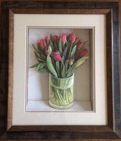 R67 花びんのチューリップ シャドーボックス