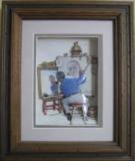 S146 自画像を描く画家 シャドーボックス