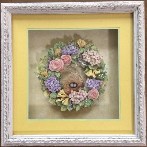 R57 花のリース鳥の巣 シャドーボックス