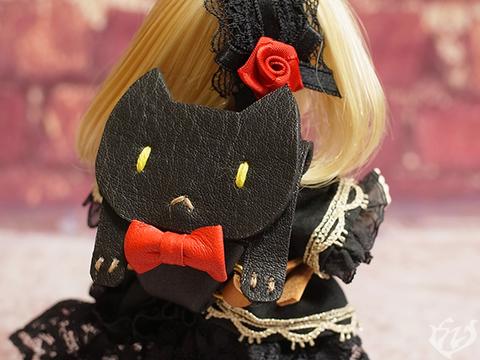 本革製ネコのリュック(黒) 1/12,1/6ドール用品 12item5 ミニスイーツドール オビツ11