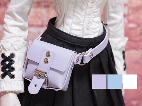 革のウエストバッグ (ラベンダー・ライトブルー・ホワイト) 1/3ドール用品
